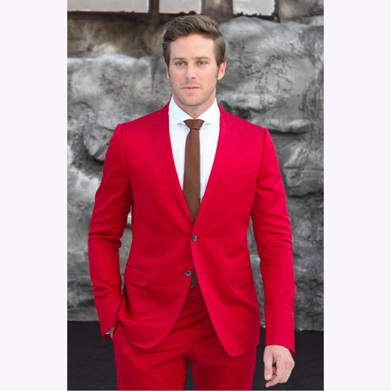 2017 red Blazer Business Men Prom Party Suit Jacket With Pants costume homme Buttons Wedding Suits For Mens Tuxedos Groom Suit