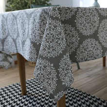 Modern Flower Print Rectangle Tablecloth Cotton Home Kitchen Table Cloth Party Banquet Dining Cover Decorative Grey