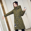 2016 Novas Mulheres Jaqueta de Inverno Casaco de cor Pura Elegante Grosso quente Com Capuz Para Baixo Jaqueta de Algodão de Alta qualidade Mulheres de Grande Porte casaco
