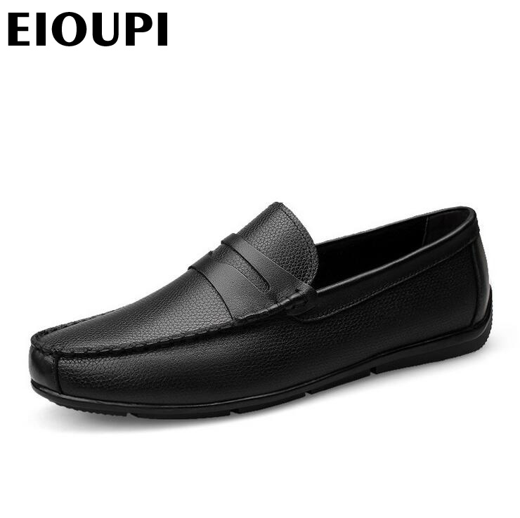 EIOUPI top quality new design genuine real leather mens fashion business casual shoe breathable men boat shoes lh301 top quality genuine real grain leather boots qshoes mens brand design business dress casual men personalized boot ym08 01