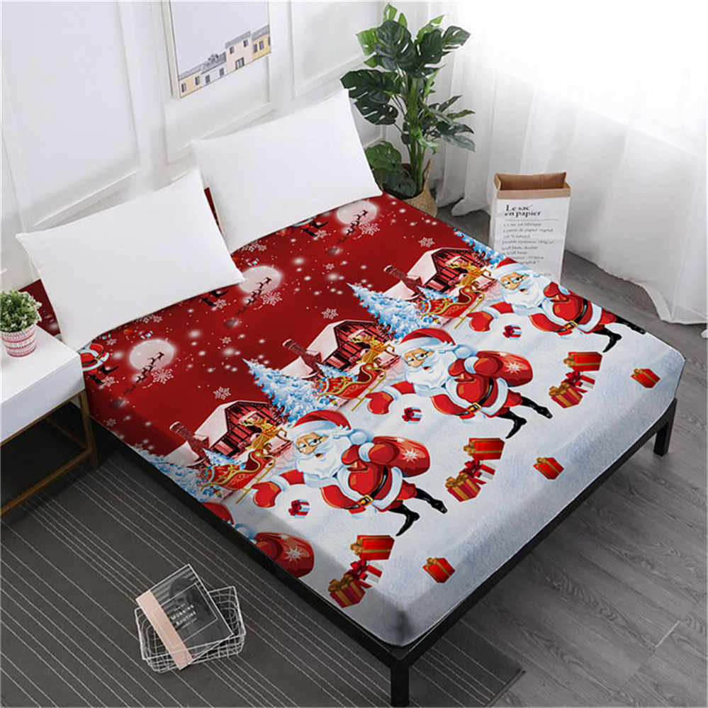 Home Textile Christmas Bed Sheet Cartoon Santa Claus Print Fitted Sheet Green Red Bedclothes Mattress Cover Deep Pocket D35