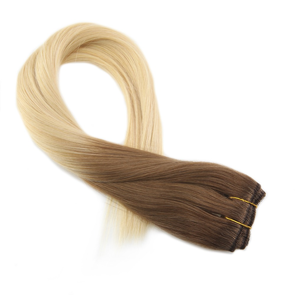 Moresoo Clip In One Piece Remy Human Hair Extension Dip Dye #6 Medium Brown To Blonde Double Weft 3/4 Full Head 50-70Gram