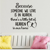 Because Someone We Love Is In Heaven Wall Stickers Hearts Quotes Wallpaper Bedroom Adesivo De Parede