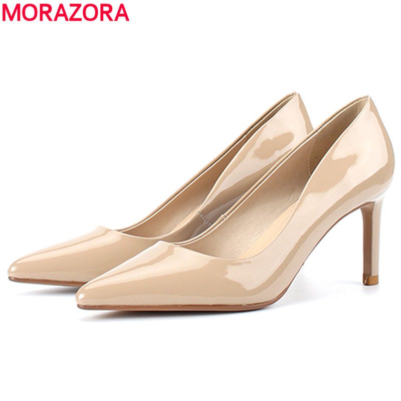 MORAZORA 2019 new arrival genuine leather high heels shoes woman pointed toe nude color patent leather