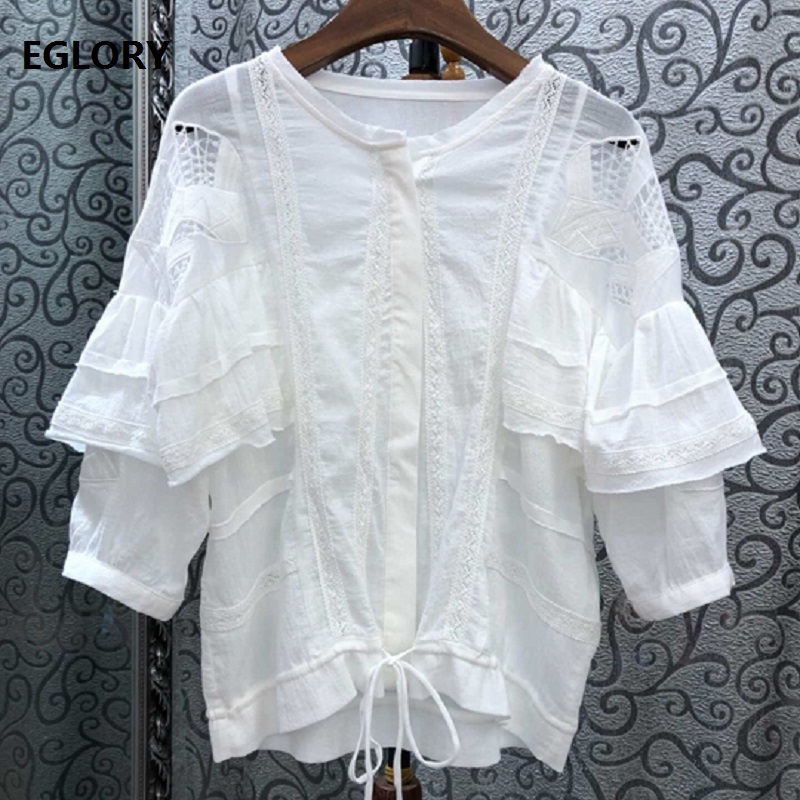 100% coton Blouse chemises 2019 été blanc noir Vintage Blouse femmes exquise broderie cordon taille solide hauts Blouse