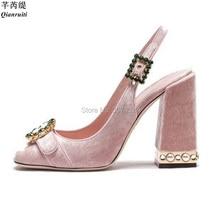Qianruiti Zapato Elegante Shoes Pink Velvet Pumps Women Gems Strap Block  High Heels Brand Woman Luxury 3b7a64bb98e3