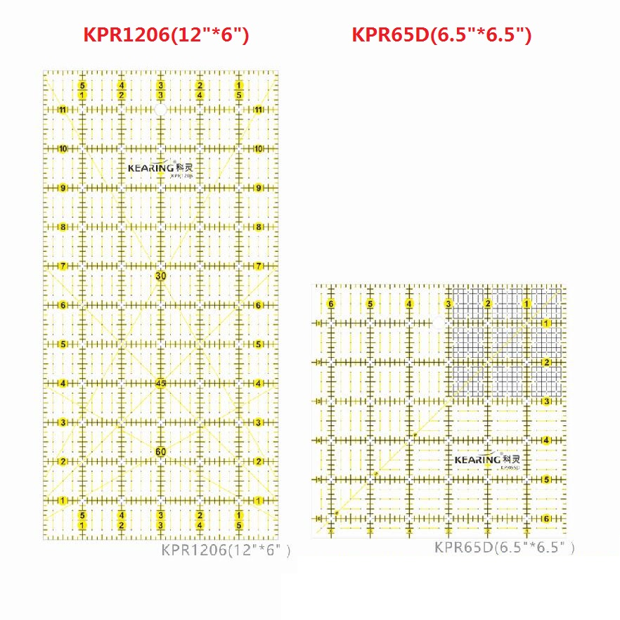 Acrílico Patchwork & Quiting rules fluorescente marca amarilla reglas sistema británico sistema inglés pulgadas KPR1515 KPR1206 KPR65D
