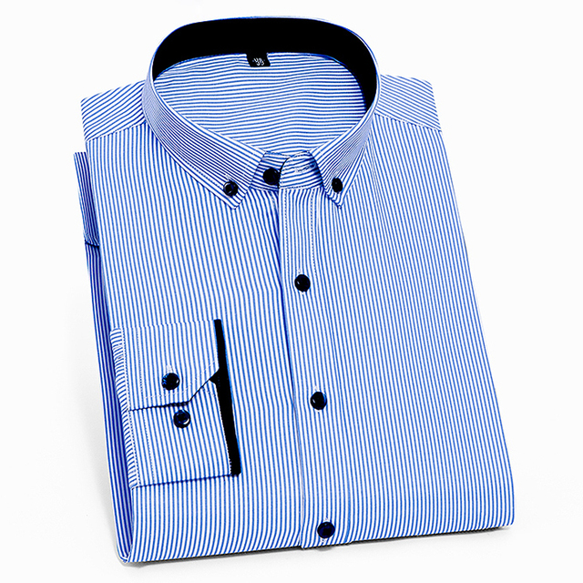 Men's Long-Sleeve Standard-fit Micro-Stripe Shirt Patch Left Chest Pocket Smart Casual Thin Wrinkle Free Button-down Dress Shirt