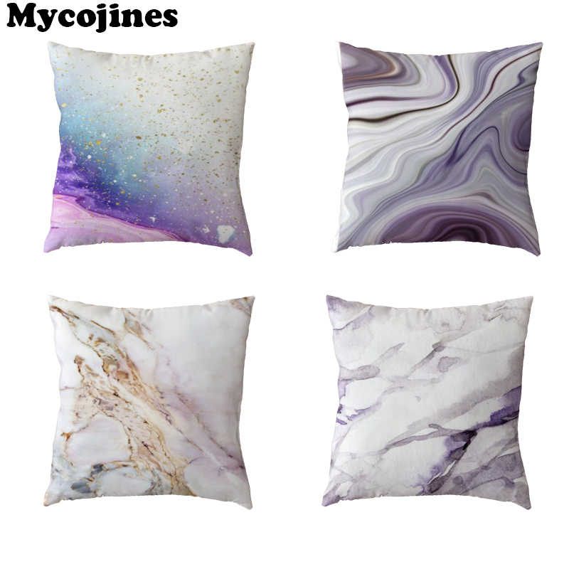 Sıcak Satış 45x45 cm Beyaz minder örtüsü Mermer Mavi Mor Ev Yatak Odası Kanepe Dekorasyon Hediyeler Polyester Şeftali Cilt Yastık kılıfları
