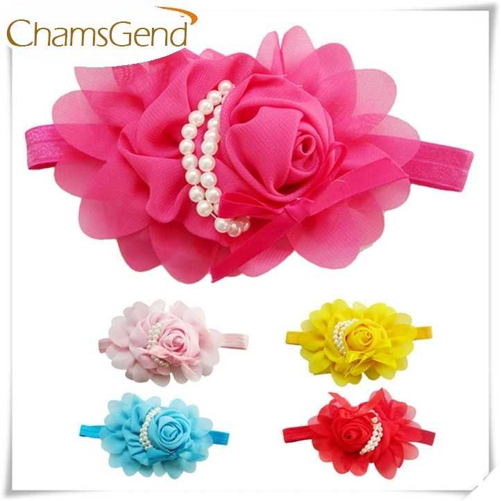 Newly Design Girls Headbands Rose Pearl Flower Hair Accessories For Girls Kiddo Hair Band June9 Drop Shipping