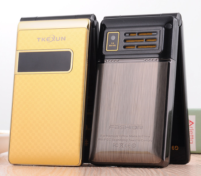 Luxury Original TKEXUN G9 Metal Phone Flip Mobile Phone Standby Vibration Phone for Man Russian French
