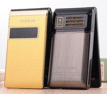 Luxus Original TKEXUN G9 Metall Telefon Flip Handy Standby Vibration Telefon für Mann Russisch Französisch Sprache TKEXUN G9