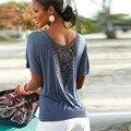 2016 Fashion Blusas Short Sleeve camisa feminina Lace Sexy Backless Shirt Summer Ladies Blouse Tops Women Blouse Blue