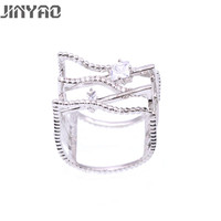 JINYAO Newest Fashion Women Jewelry Irregular White Gold Color Bling Zircon Wedding Ring For Women Valentine's Day Gift