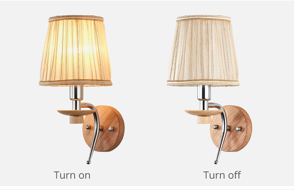 LED Bedside Wall Lamp E14 Bulb Fixtures Wood Aluminum Reading Light Fabric Glass wall Sconce Living Room Bedroom Indoor Lighting (10)