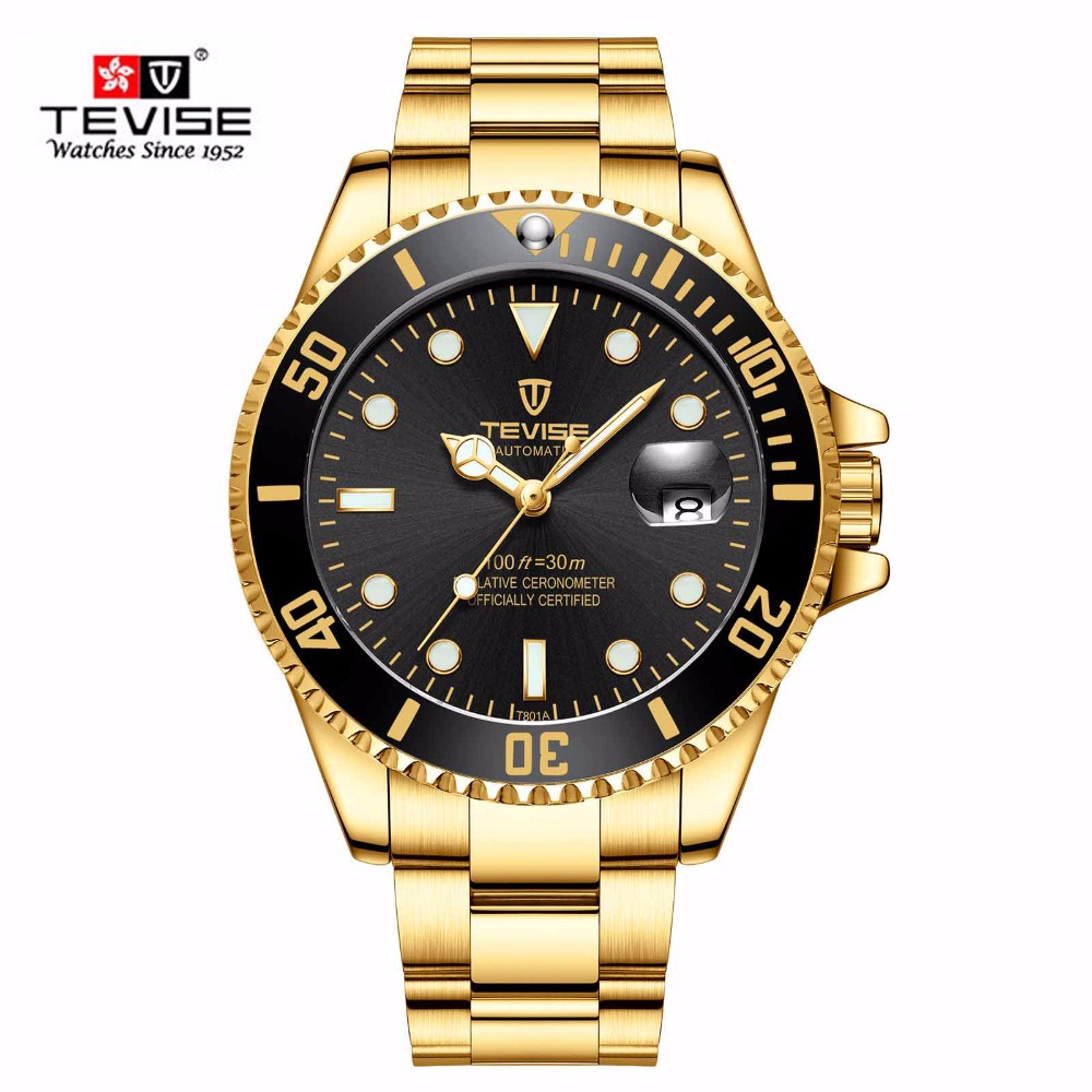 Men Mechanical Watches Automatic Watch Design Gold Clock
