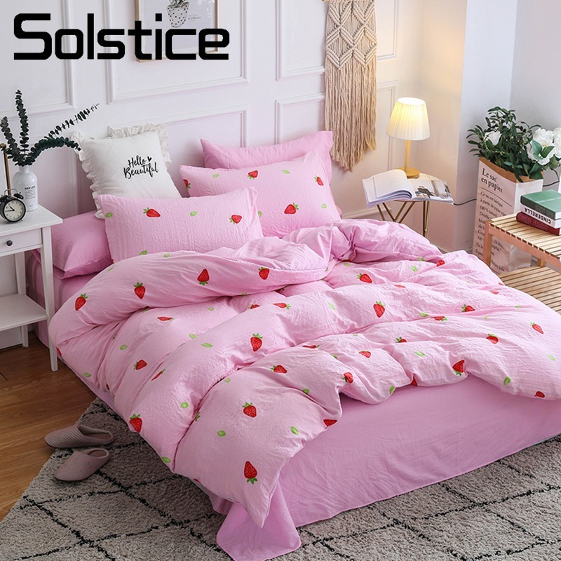 Solstice Home Textile Pink Strawberry Girl Kid Bedding Set Soft Duvet Cover Bed Sheet Pillowcase Woman Teen Bedclothes King Twin