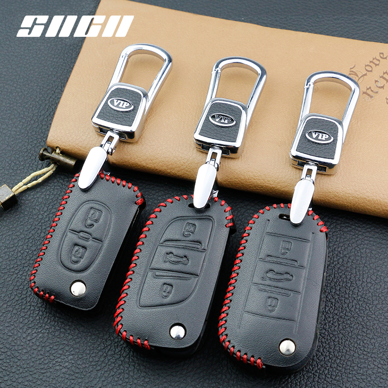 SNCN Genuine Leather Car Key Case For Peugeot 107 207 307 308 407 607 206 208 301 406 407 408 508 2008 3008 4008 5008 Keychains