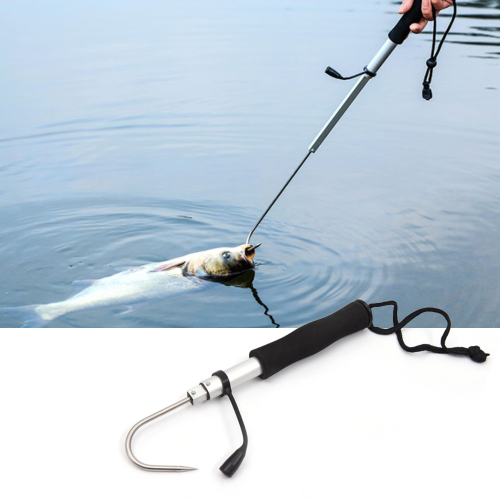 Stainless Steel Flexible Fishing Gaff Grip Holder Hook Shape Fishing Spear Crank Sea Fishing Gripper Control Tackle tool