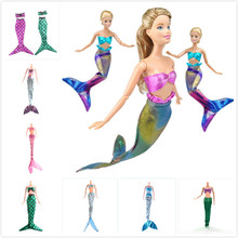 Handmade Dolls Party Dress Gown Skirt Fashion Clothes dress Doll Genuine Mermaid Tail Baby Toy