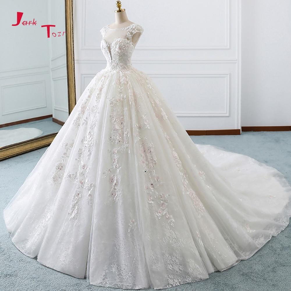Jark Tozr Robe De Mariée Cap Manches Perles Paillettes Appliques Dentelle Fleurs Princesse robe de Bal Robes De Mariée Plus Taille Gelinlik