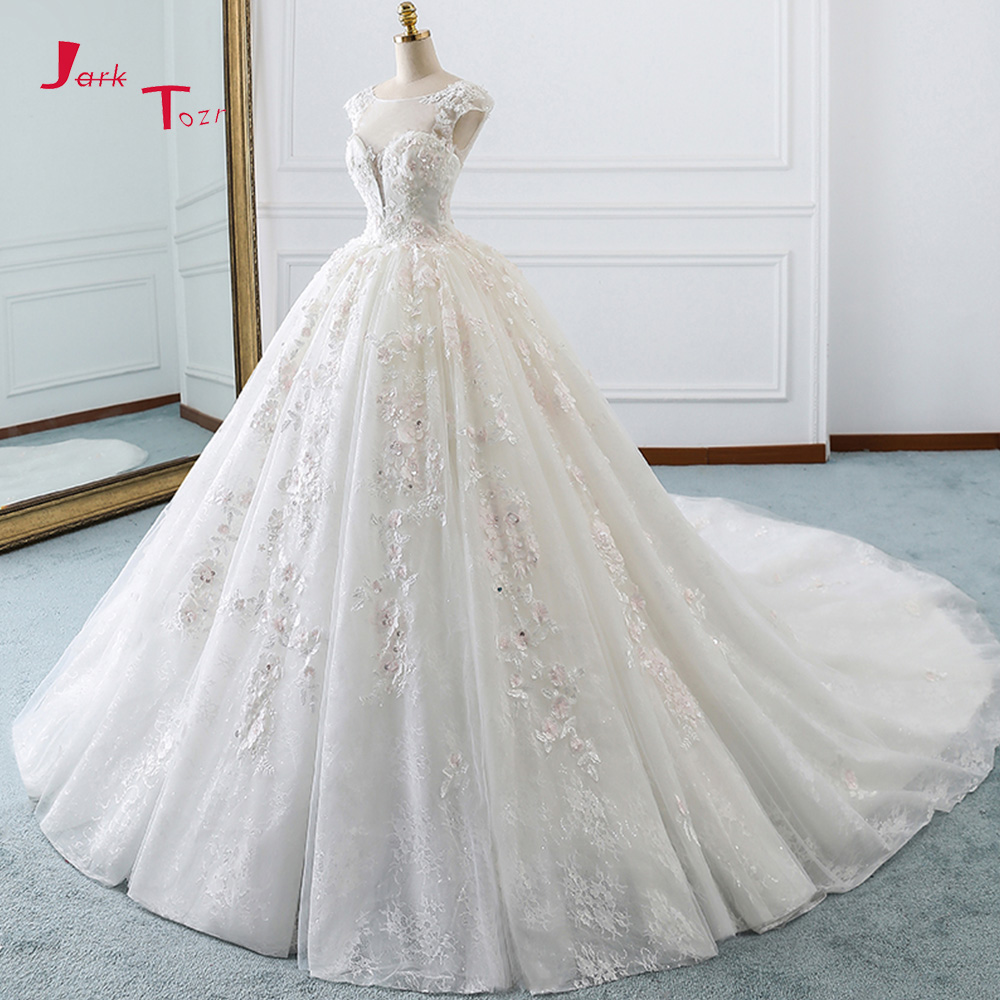 Jark Tozr Robe De Mariee Cap Sleeve Beading Sequins Appliques Lace Flowers Princess Ball Gown Wedding Dresses Plus Size Gelinlik