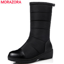 MORAZORA Russia women boots Big size 35-44 keep warm snow boots platform winter mid calf boots fashion shoes solid white color