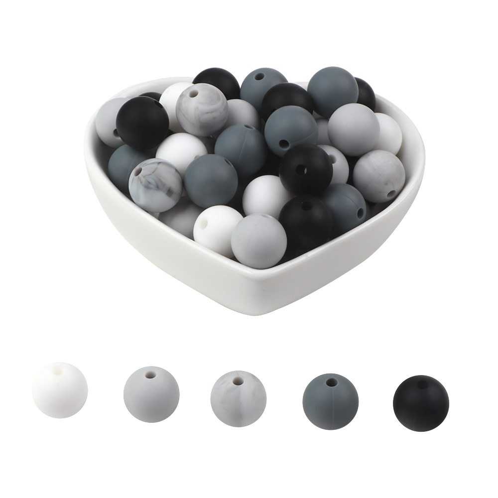 BOBO.BOX 100Pcs 12mm Round Silicone Beads BPA Free Material For DIY Baby Teething Necklace Nursing Toy Baby Teether