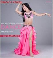 Girls Performance Belly Dance Costumes Child Ballroom Dance Suit Bra Skirt 2pcs Children Competition Suit S