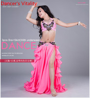 Girls Performance Belly Dance Costumes Child Ballroom Dance Suit Bra Skirt 2pcs Children Competition Suit S