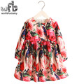 Retail 2-8 Milan Princess Dress Flax Long Sleeve Clothing Baby Girl Cute Korean Floral Pink Red  Rose Print Spring fall 2016 New