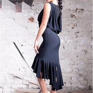 Image 3 - Latest Latin Dance Dresses For Ladies Black Colors Sleeveless Durable Skirts Wears Women Modern Ballroom Dresses Fashions B013