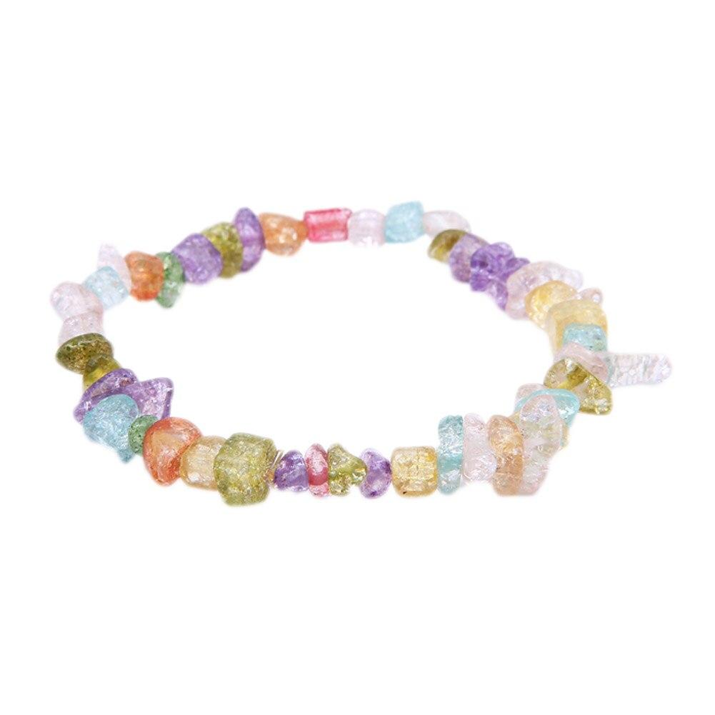 3 colors Crystals Gravel Bracelet Natural Stone Chips Single Strand Quartz Women Bracelet Purple Crystal Lapis Lazuli Bracelet
