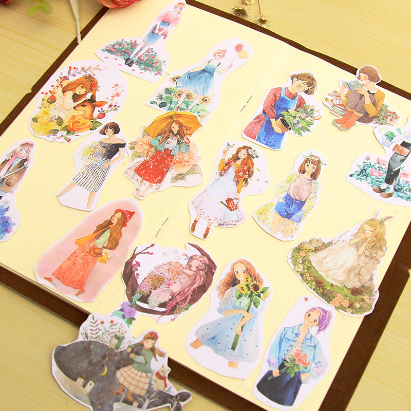 A5 cartoon young girl paper sticker DIY diary decoration sticker for planner album scrapbooking kawaii stationery