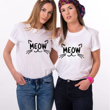 Meow Brief Cartoon Kat Print T Shirt Vrouwen Korte Mouw O Hals Losse T-shirt 2020 Zomer Vrouwen T-shirt Tops camisetas Mujer(China)