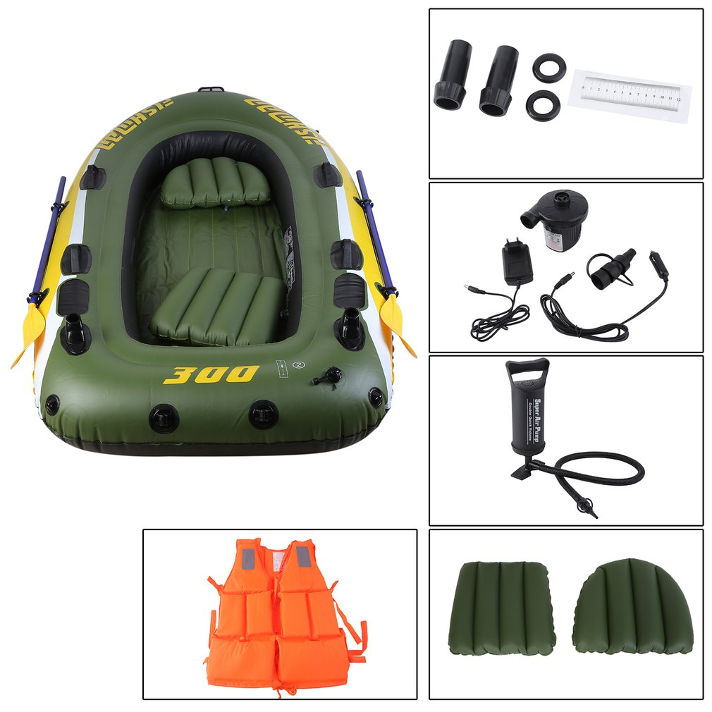 Rubber Boat Kit PVC Inflatable Fishing Drifting Rescue Raft Boat Life Jacket Two Way Electric Pump Air Pump Paddles цены онлайн