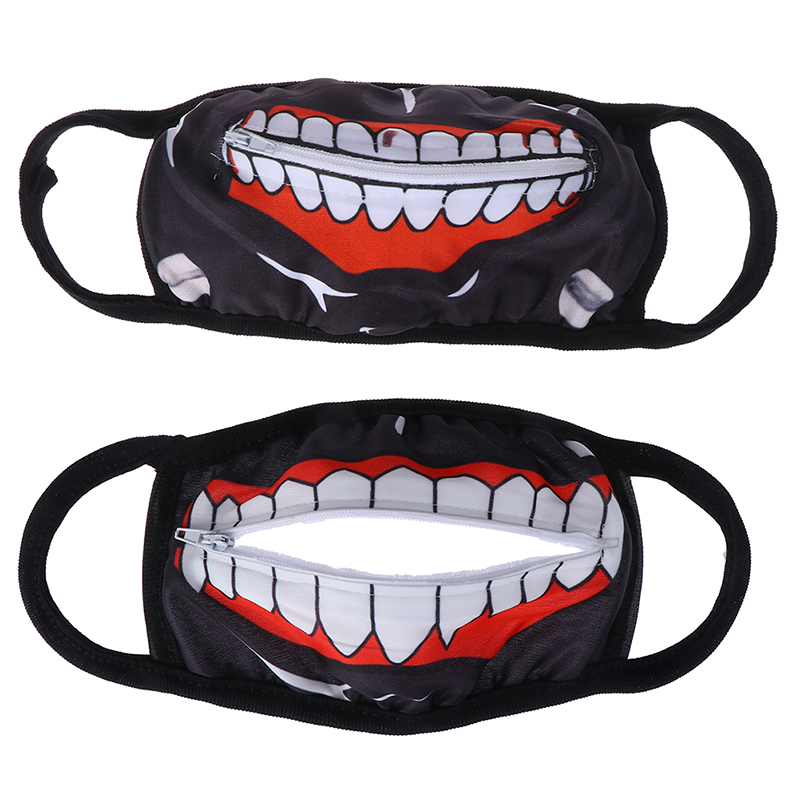 1Pc Cartoon Face Mask Zipper Cycling Anti-dust Anime Tokyo Ghoul Cosplay Masks