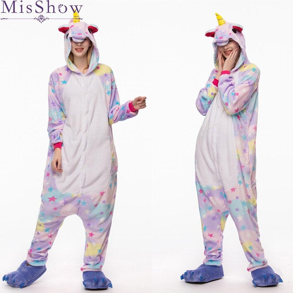 Günstige 2019 Frühling einhorn Pyjama Sets Cartoon Nachtwäsche Frauen Pyjama Flanell Tier zebra Stich Einhorn giraffe Pyjama kigurumi