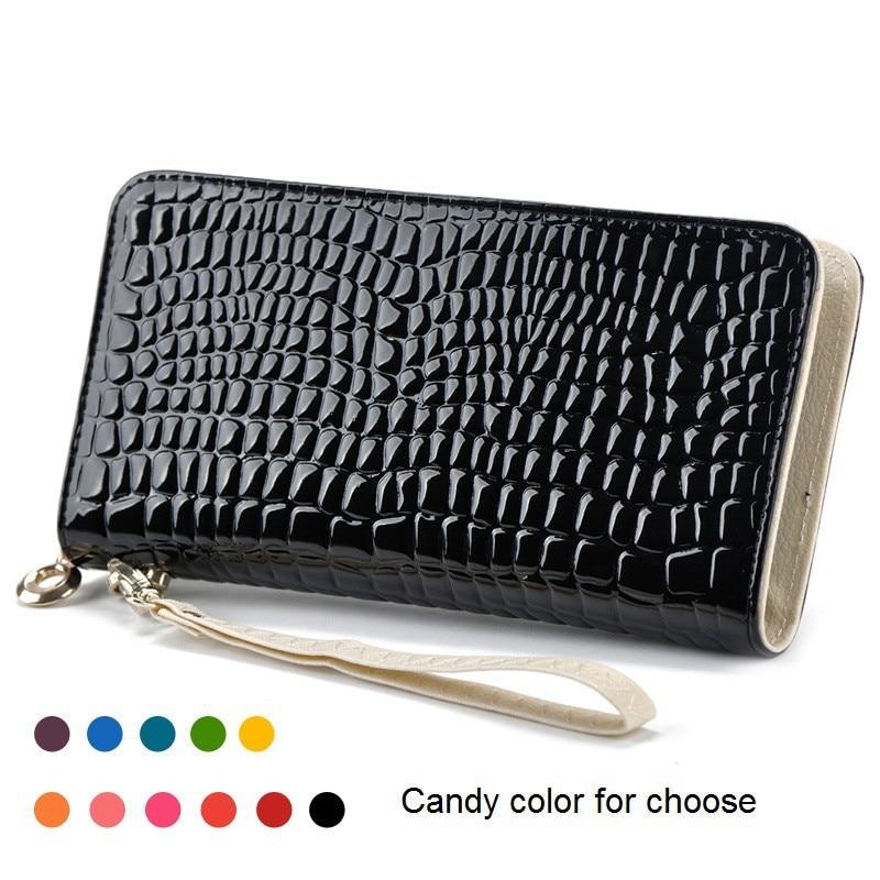 2017 New Fashion Stone Pattern Patent Leather Bag High Quality Coin Purse Female Long Zipper Pockets Purses Women Clutch Wallet недорого