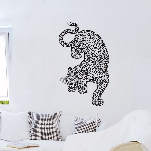 ferocious leopard wall decals vinyl adhesive wall stickers home