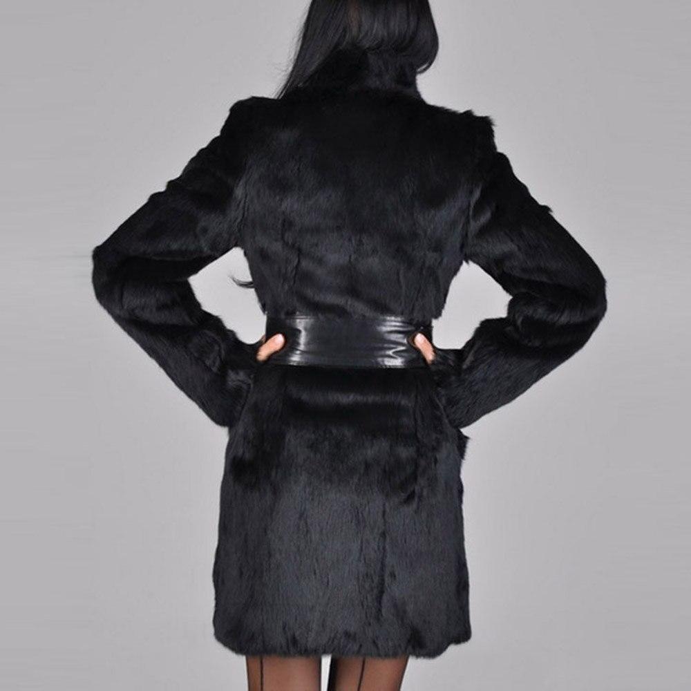 Plus Femmes Fourrure En 2018 Col Fausse Coupe Chaud La D'hiver Vêtements Noir Vintage Outwear Mode Manteau vent De Taille AWfyq541cw