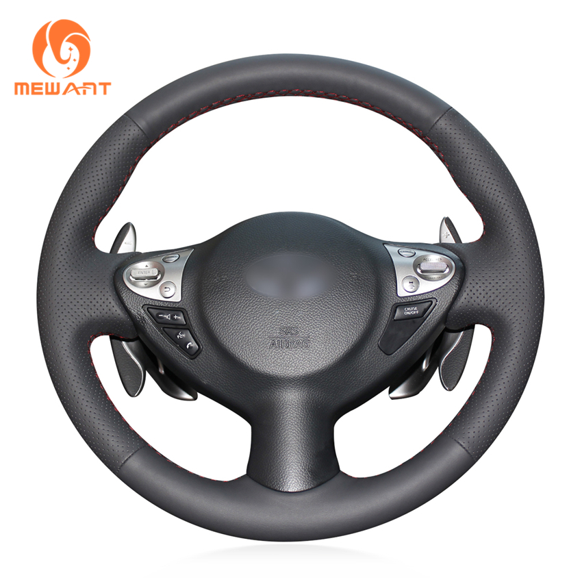 MEWANT Black Genuine Leather Steering Wheel Cover for Infiniti FX FX35 FX37 FX50 2009-2013 Nissan Juke 2011-2017 Maxima Sentra hv 642 bs