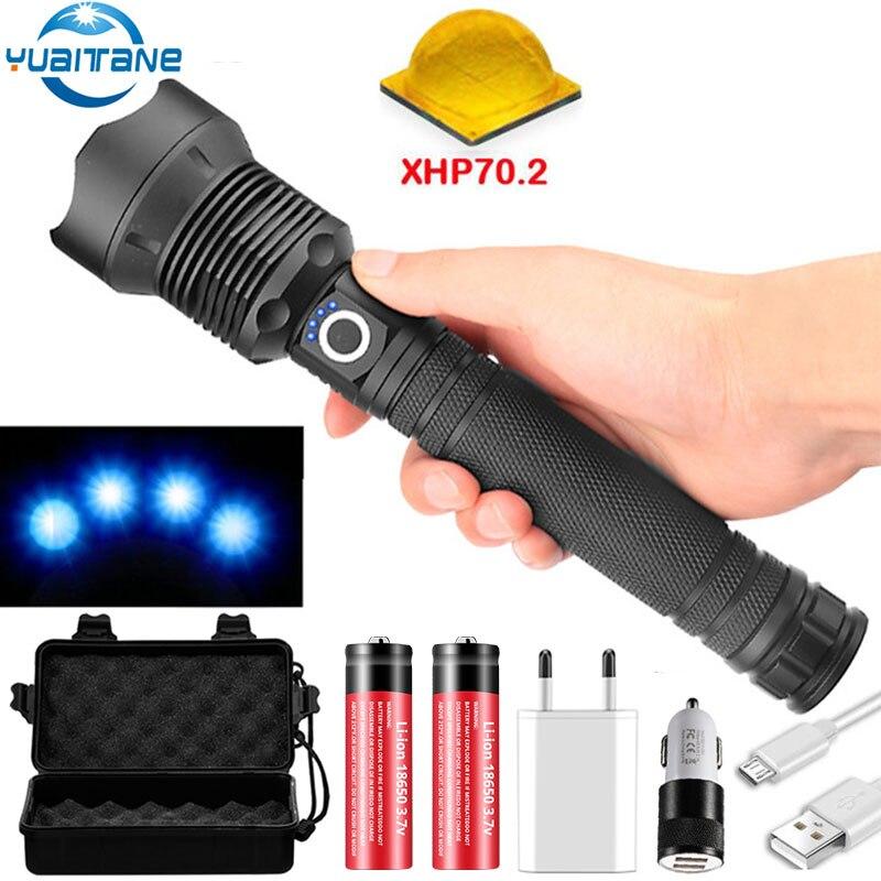80000 lumens led lampe de poche xhp70.2 lampe de poche la plus puissante 26650 usb torche xhp70 xhp50 lanterne 18650 lampe de chasse lumière à la main