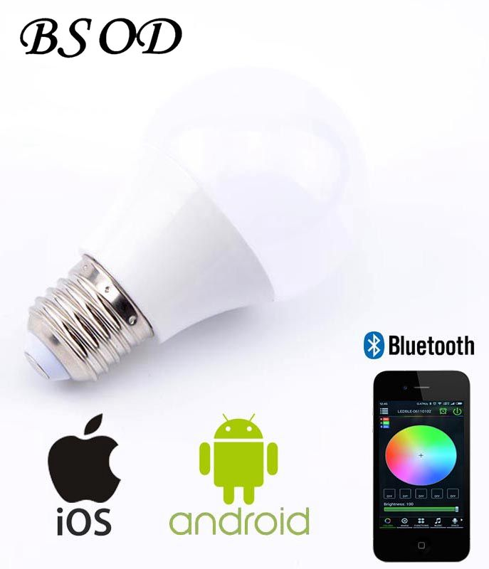 Bsod RGBW  Magic Bluetooth LED Bulb  AC85-265V E27 4.5W Smartphone Bluetooth Control Led Lamp Light Energy Saving Led Lighting 1pcs e27 t80 led energy saving lamp light bulb velas led decorativas home lighting decoration 40w ac85 265v led lamp