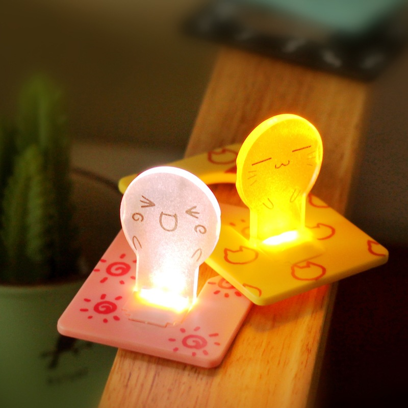New Design Portable Hot Sale Cute Portable Pocket Fold switch LED Card Night Lamp Put In Purse Wallet Convenient Light