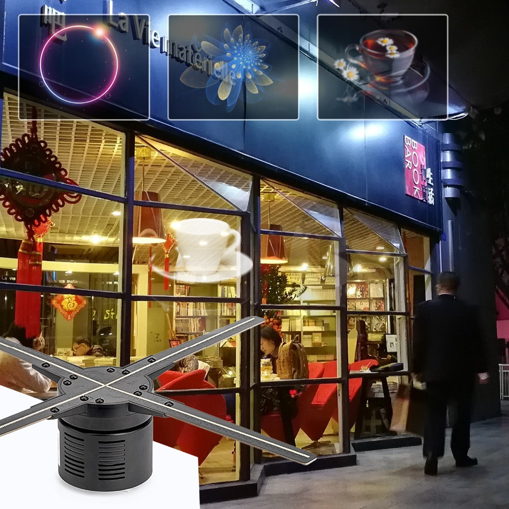 AUSIDA 50cm 3D hologram 512led Wifi cloud LED fan Display Advertising Holographic holograma hologramme ologramma logo projector-in Advertising Lights from Lights & Lighting