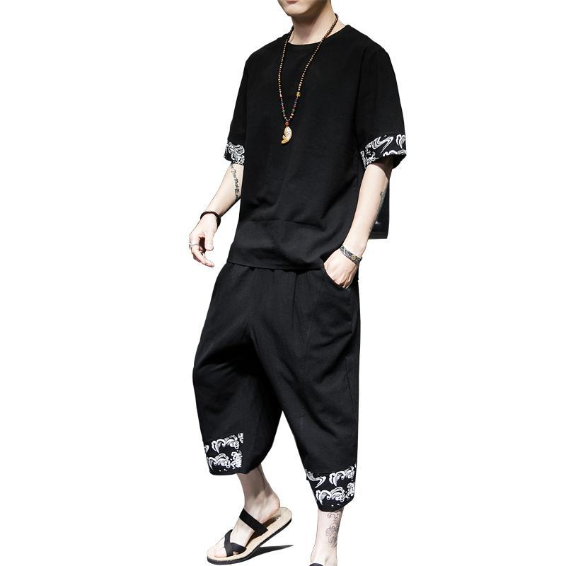 Plus Size 5XL 4XL Hip Hop Streetwear Tracksuit Men Crew Neck Summer T Shirt + Cropped Pants Fashion Two Piece Set Summer XXXXXL