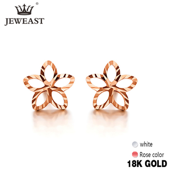 18K Pure Gold Earring Real AU 750 Solid Gold Earrings Good Shiny Diamond Upscale Trendy Classic Fine Jewelry Hot Sell New 2020