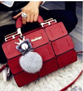 New Fashion Korean Stitching With A Hair Ball Handbag Ladies Shoulder Messenger Bag