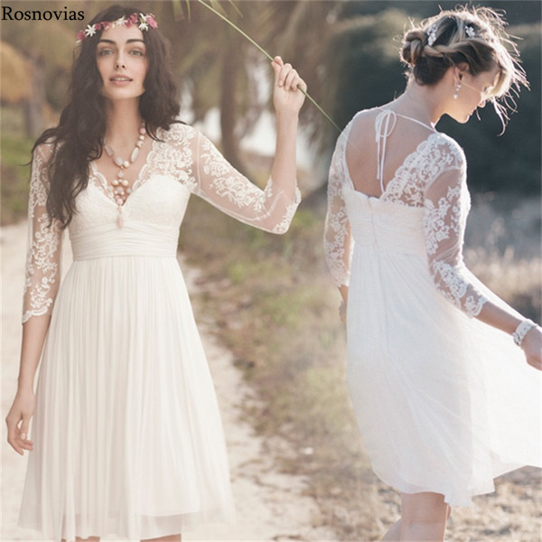 Short Boho Wedding Dresses With 3/4 Long Sleeve V Neck  Pleats Lace Knee Length Chiffon Beach Bridal Gowns Vestido De Novia 2020